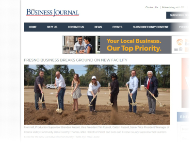 Click to read the Business Journal article about our groundbreaking